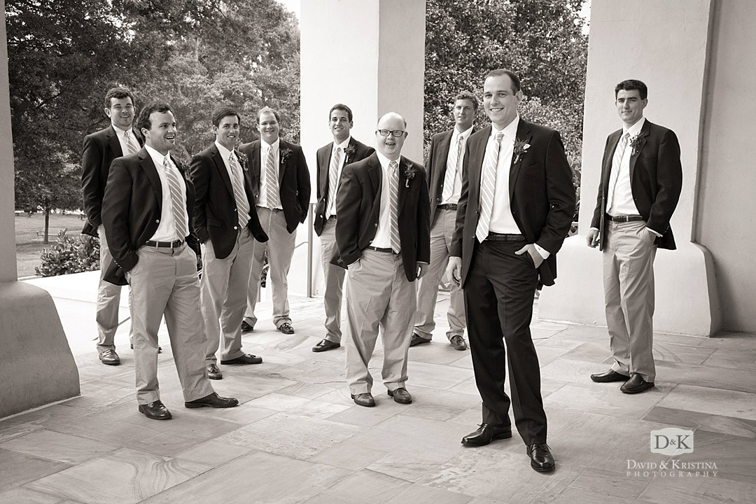 groomsmen on Wofford campus