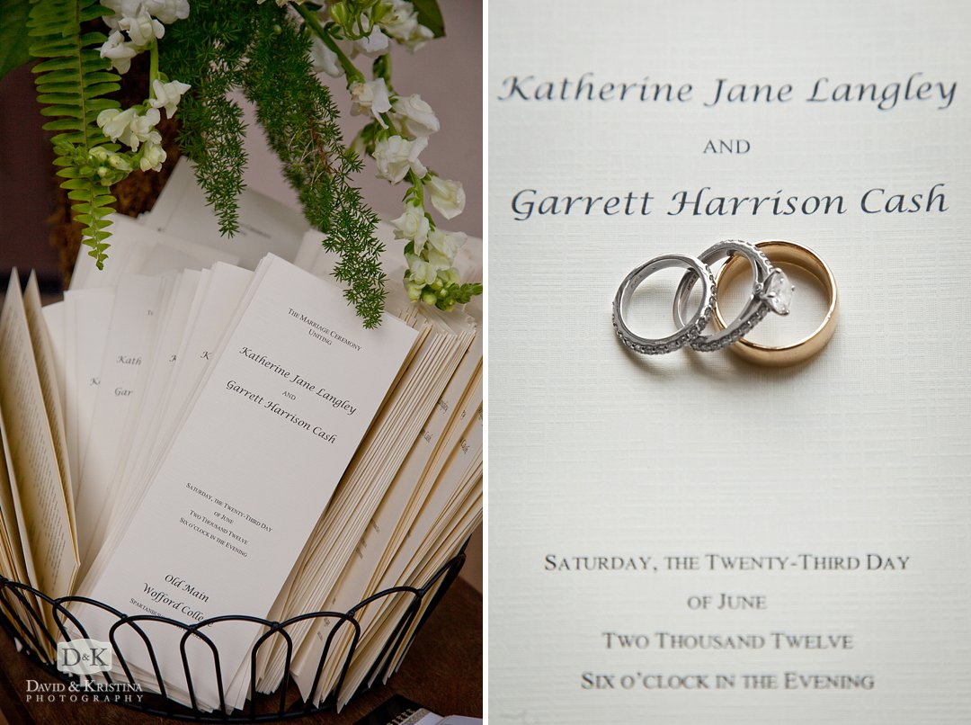 wedding program and rings