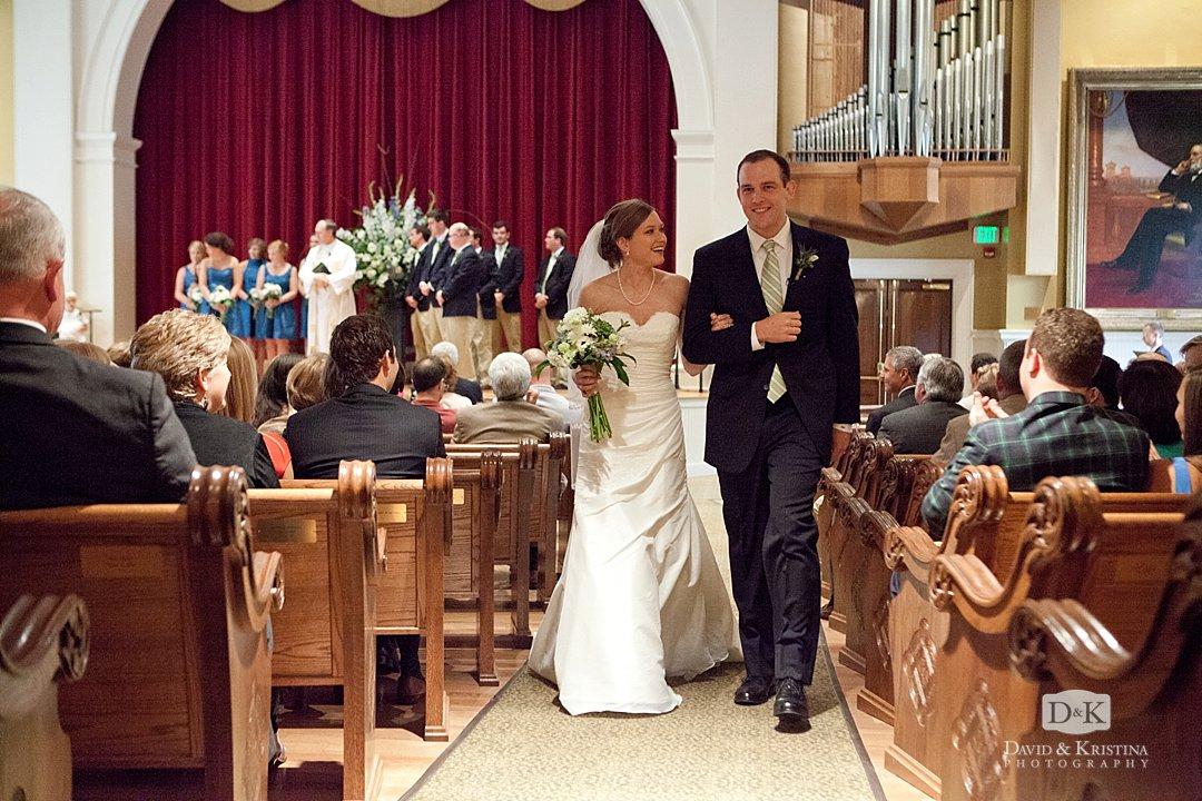 bride and groom recessing