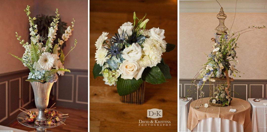 flower arrangements at Indigo Hall