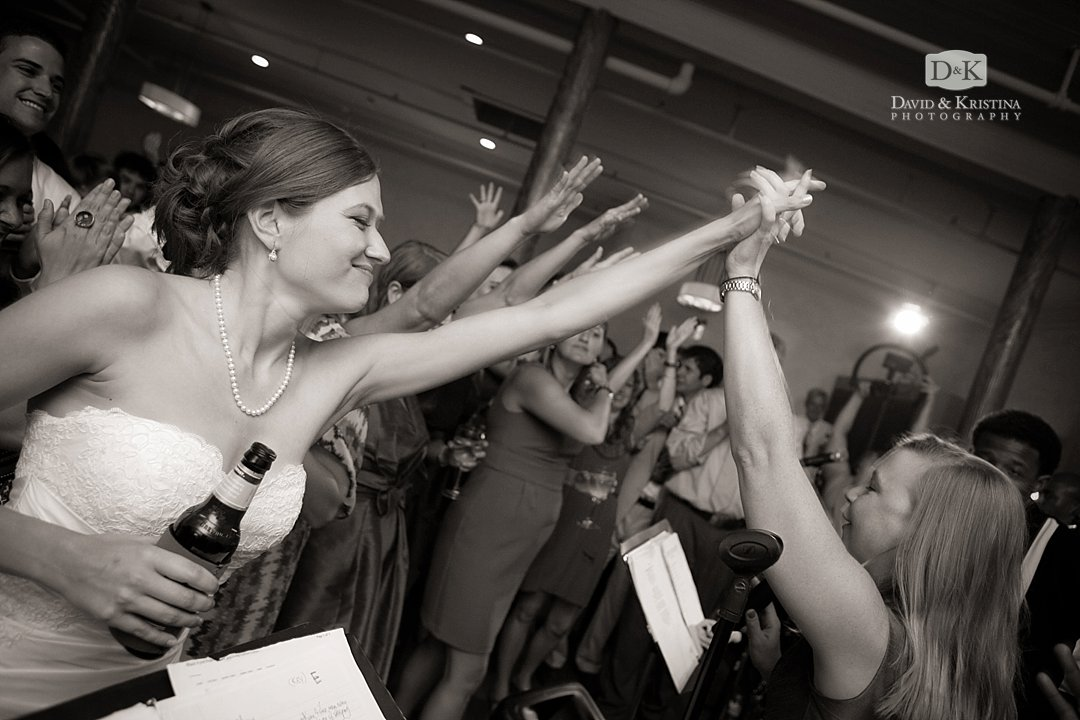 bride giving high five