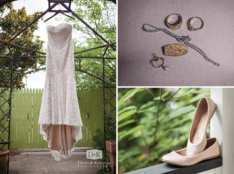 bride's dress jewelry and shoes