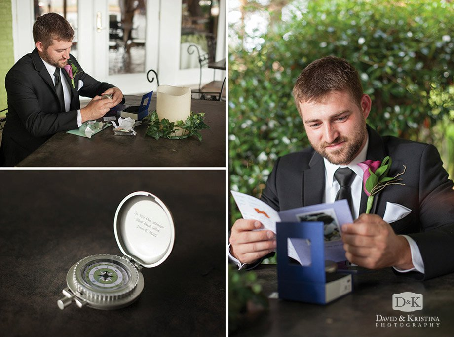 groom with wedding present compass