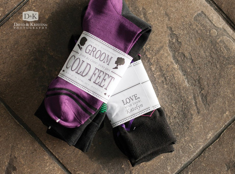 groom personalized label cold feet socks