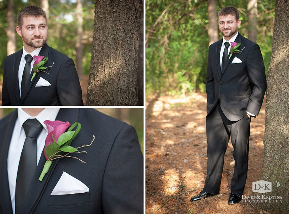groom portrait calla lily boutonniere