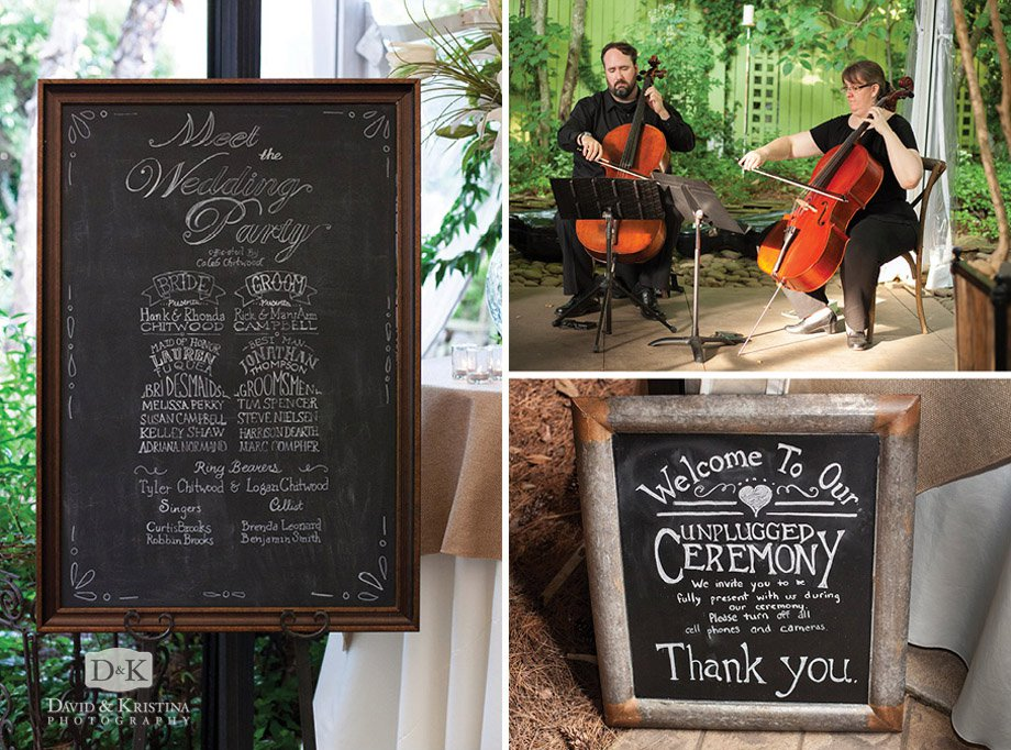 wedding program chalkboard sign and unplugged sign