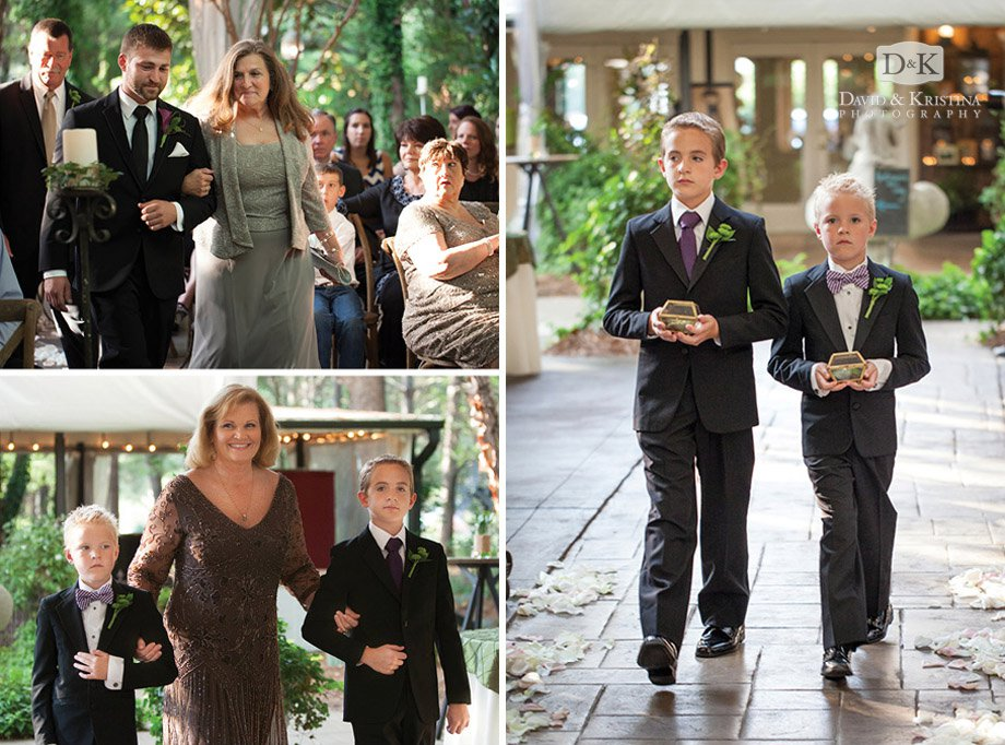 mothers escorted down the aisle and ring bearers