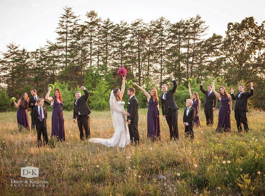 fun wedding party in field