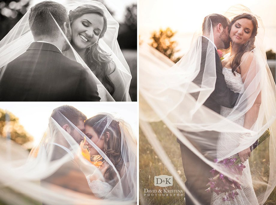 bride and groom with veil romantic