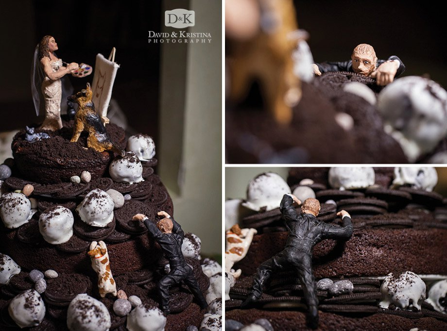 Oreo cake with clay figurines of bride and groom