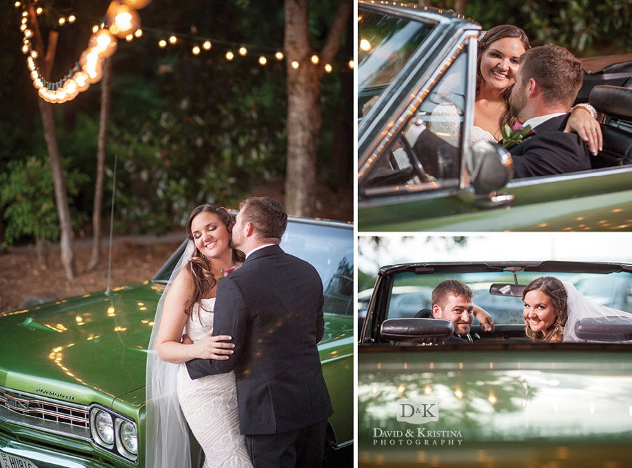 bride kissing groom on antique car 1969 Plymouth GTX