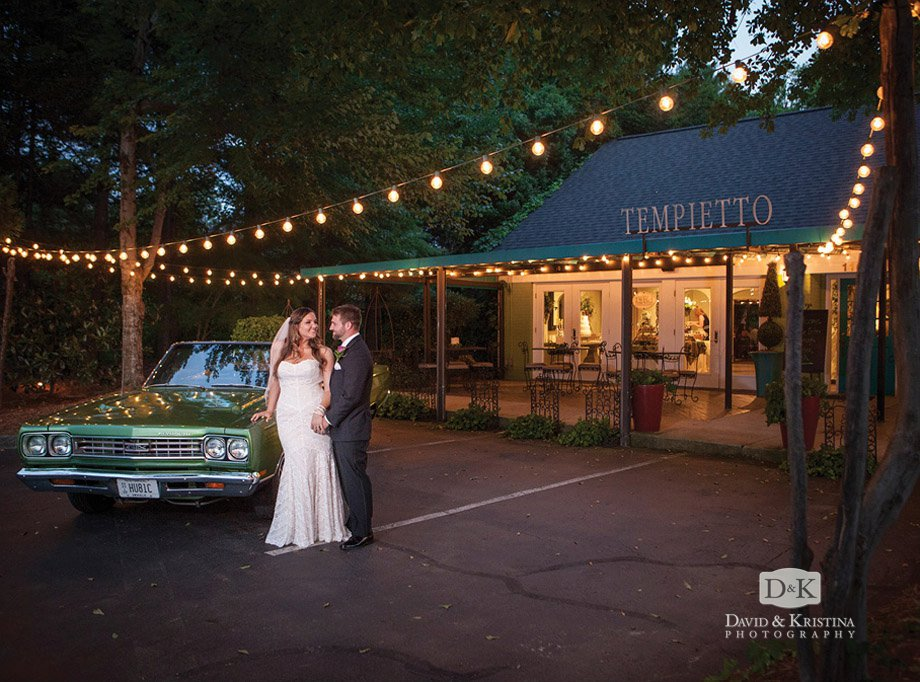 bride and groom with 1969 Plymouth GTX Twigs Tempietto