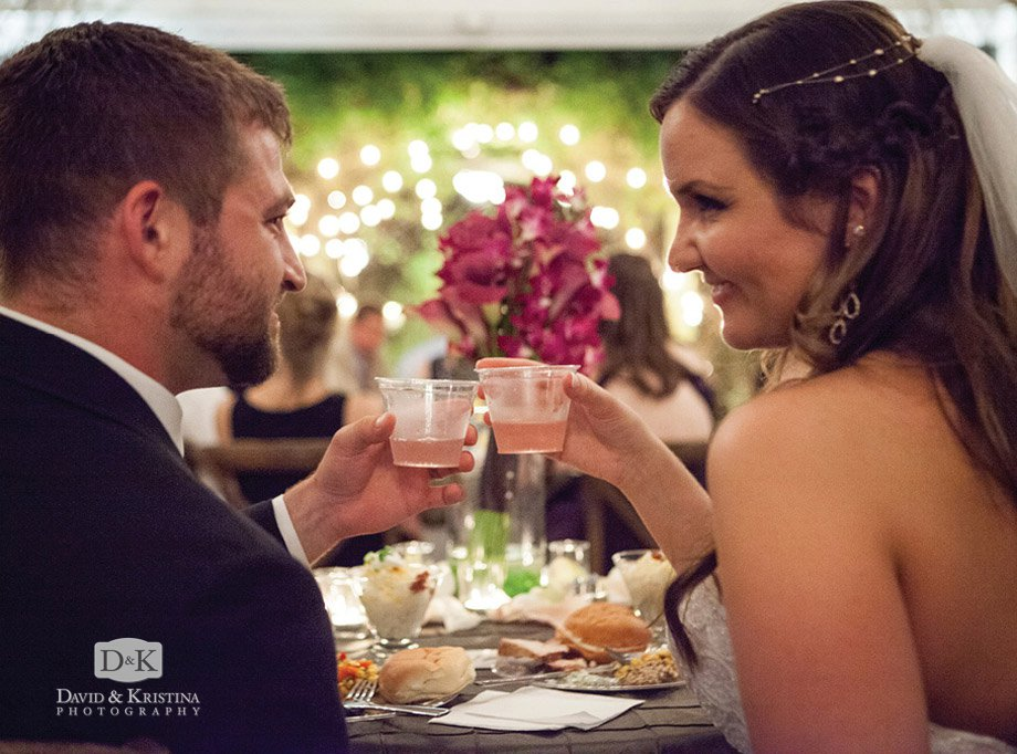 bride and groom toast sangria