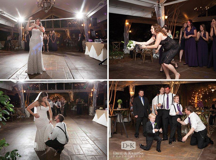 bride tossing bouquet groom throwing garter