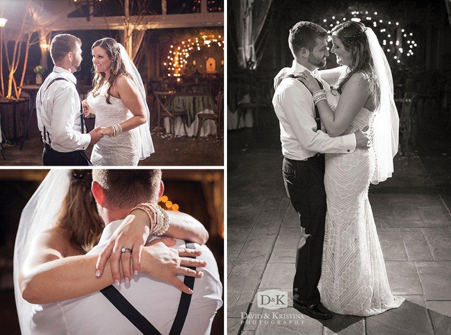 bride and groom dancing engagement ring closeup