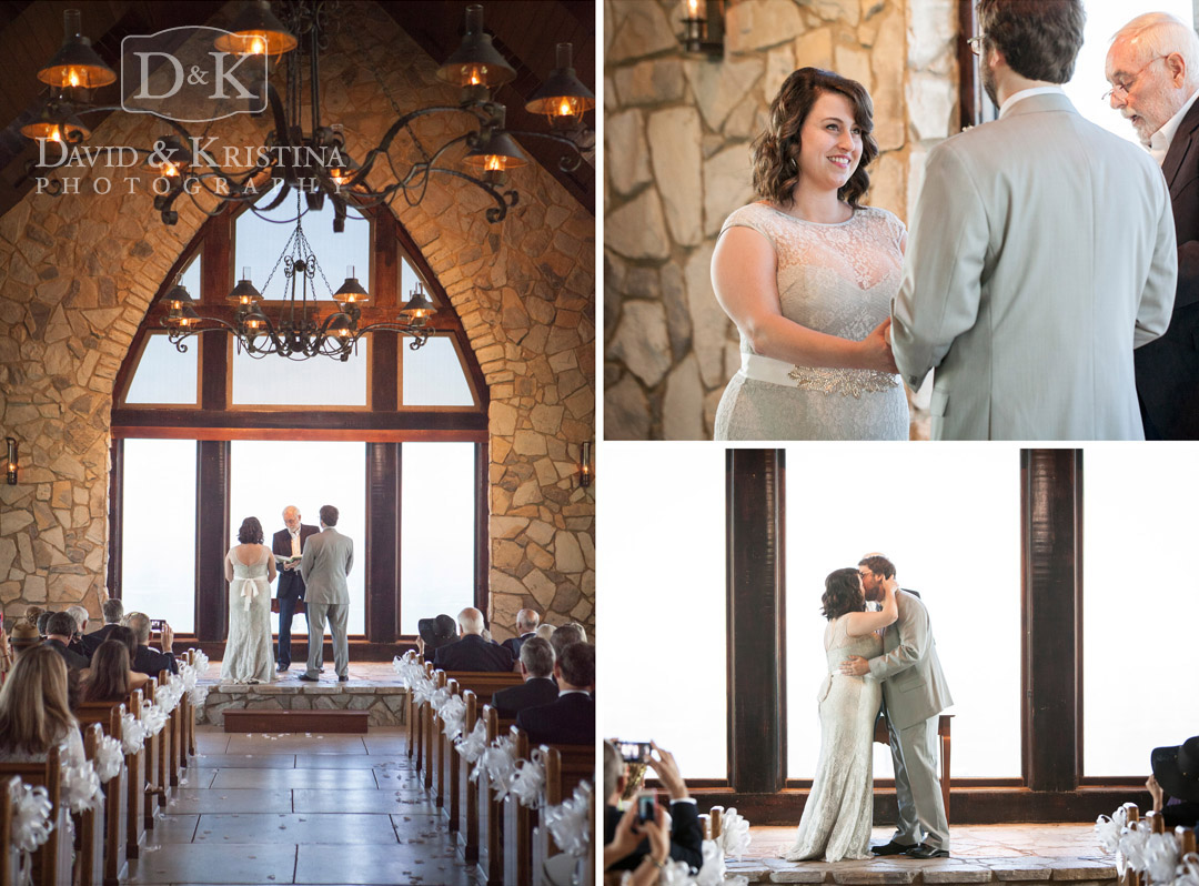 wedding ceremony in glassy mountain chapel