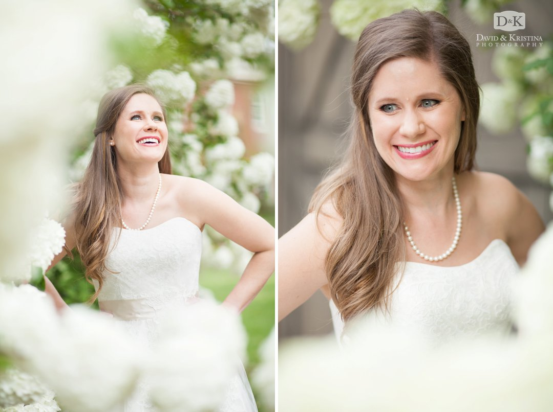 bridal portrait with snowball bush