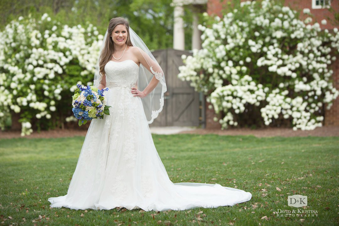 bridal portrait at Furman with snowball bushes
