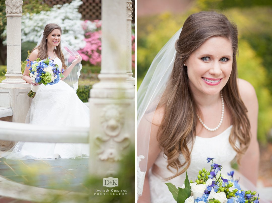 gazebo in Furman Rose Garden bridal portrait