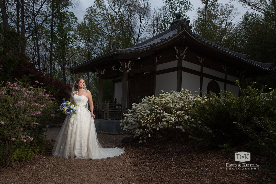 Asian temple Place of Peace Furman bridal portrait