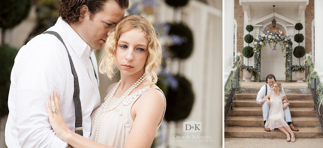 romantic engagement photos with vintage clothing