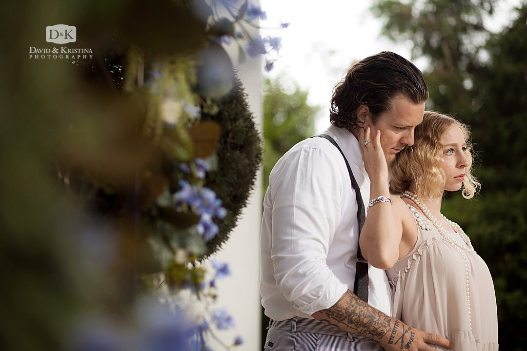 groom with tatoos in engagement photo