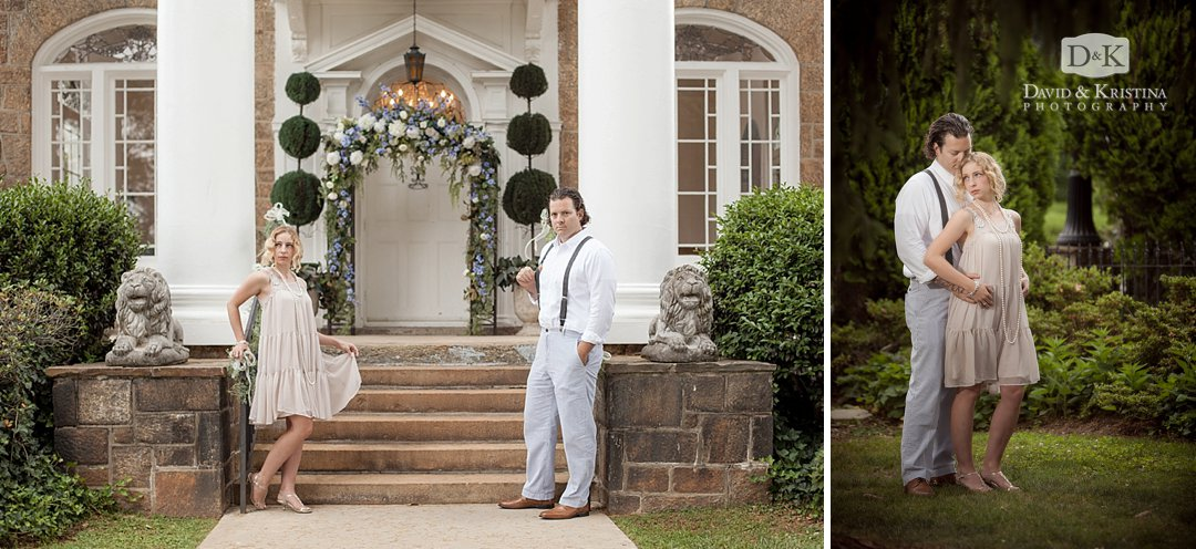 Gatsby Inspired engagement photos at Gassaway Mansion