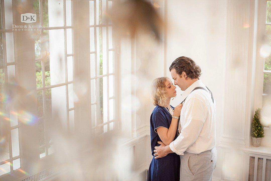 Engagement photos inside Gassaway Mansion