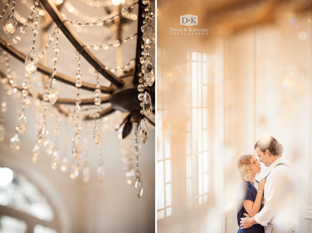 engagement photo with antique chandelier