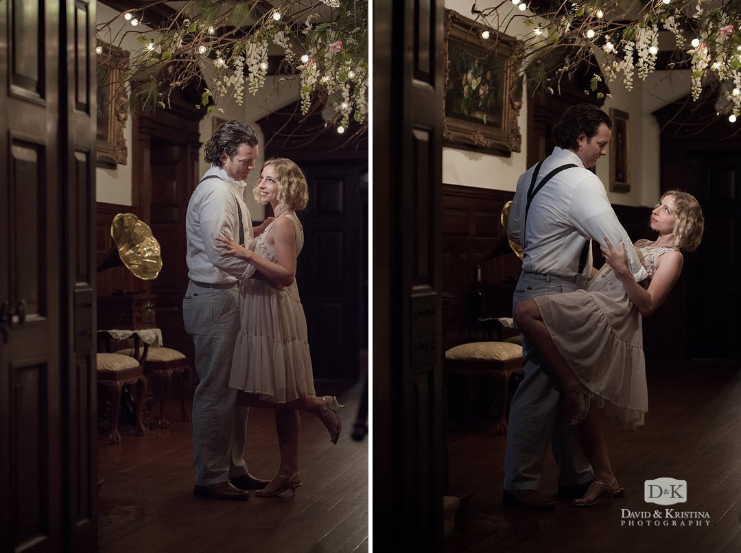 Dancing engagement photo antique record player