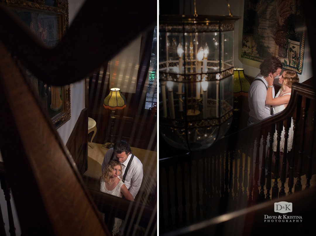 harp in the foreground of engaged couple at The Gassaway Mansion