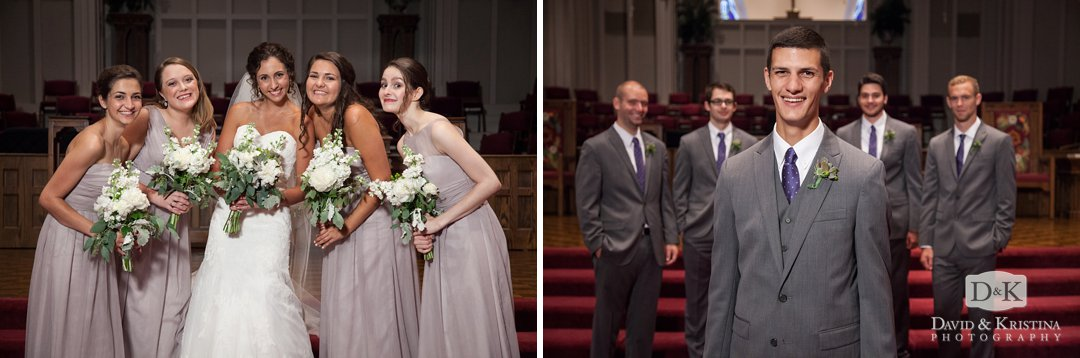 bridesmaids and groomsmen in the sanctuary at Easley First Baptist