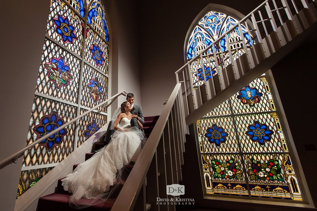 Easley First Baptist wedding photo in front of stained glass windows