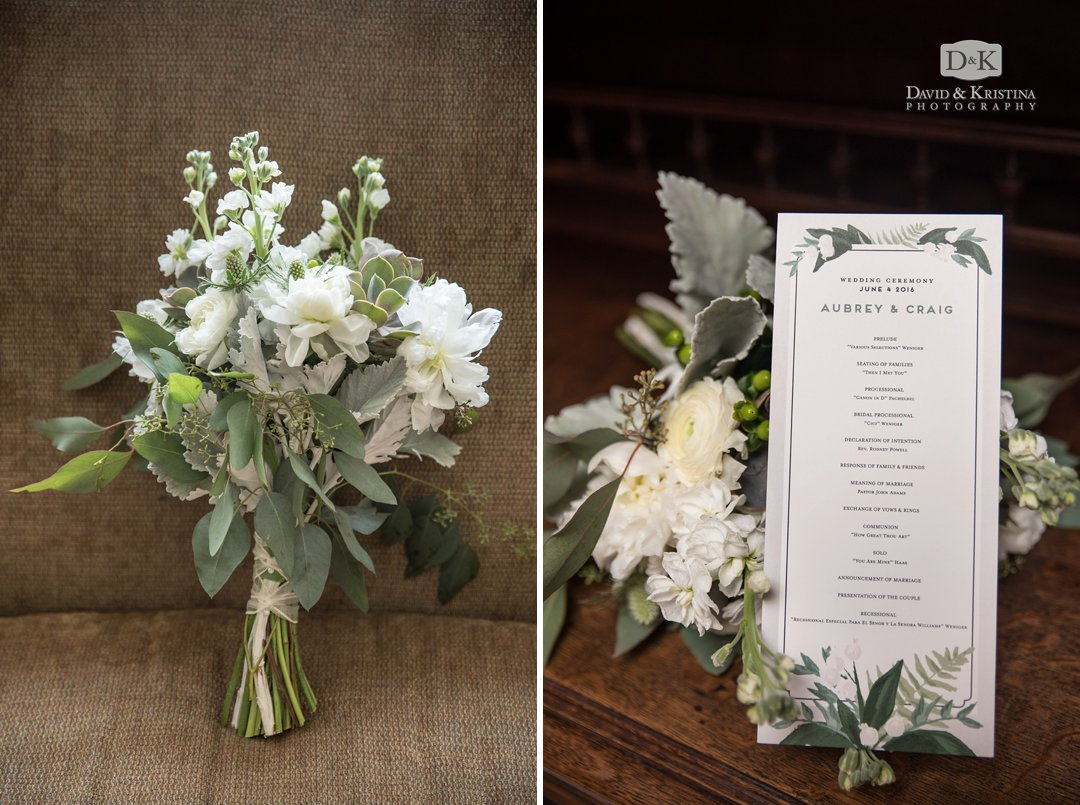 wedding program and bouquet