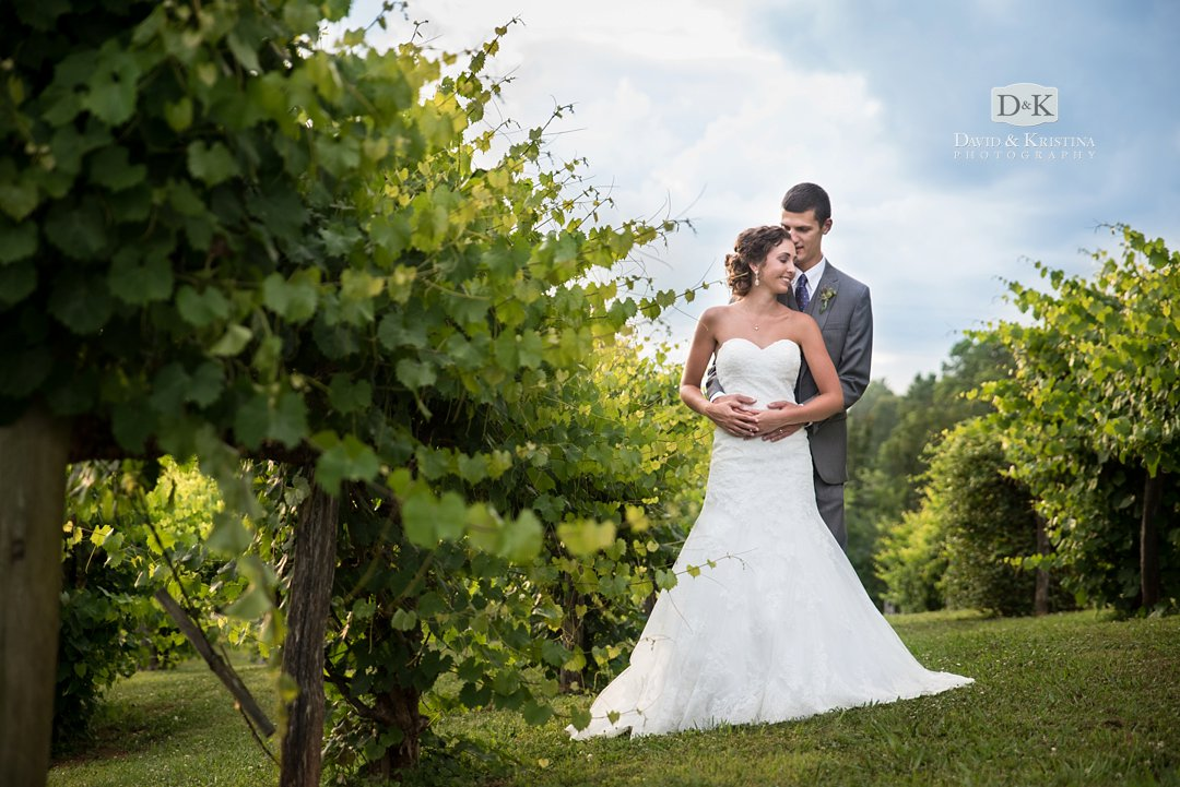 Bride and groom in vineyard at Greenbrier Farms