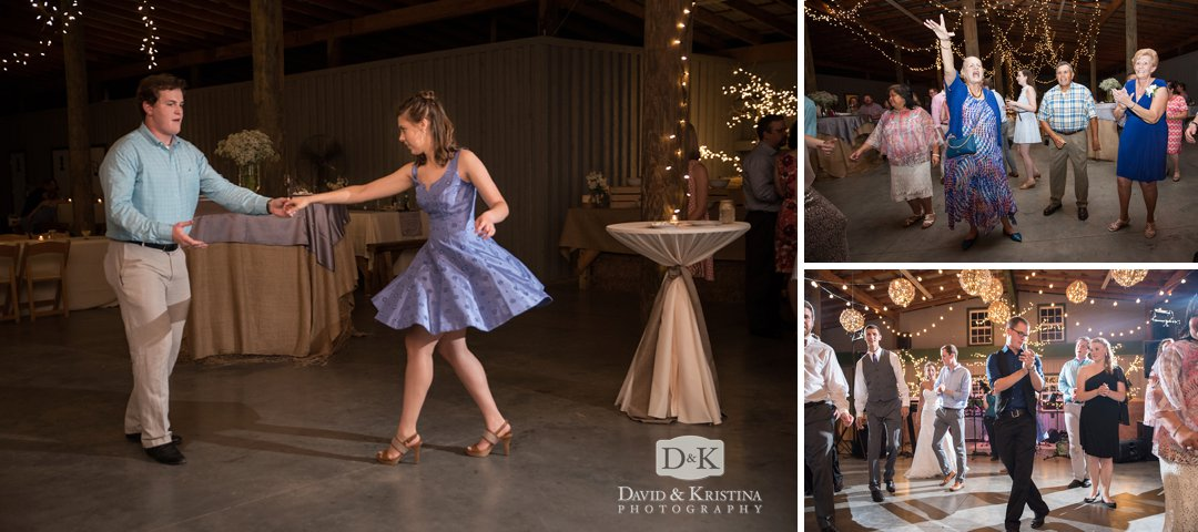 dancing at Greenbrier Farms wedding reception