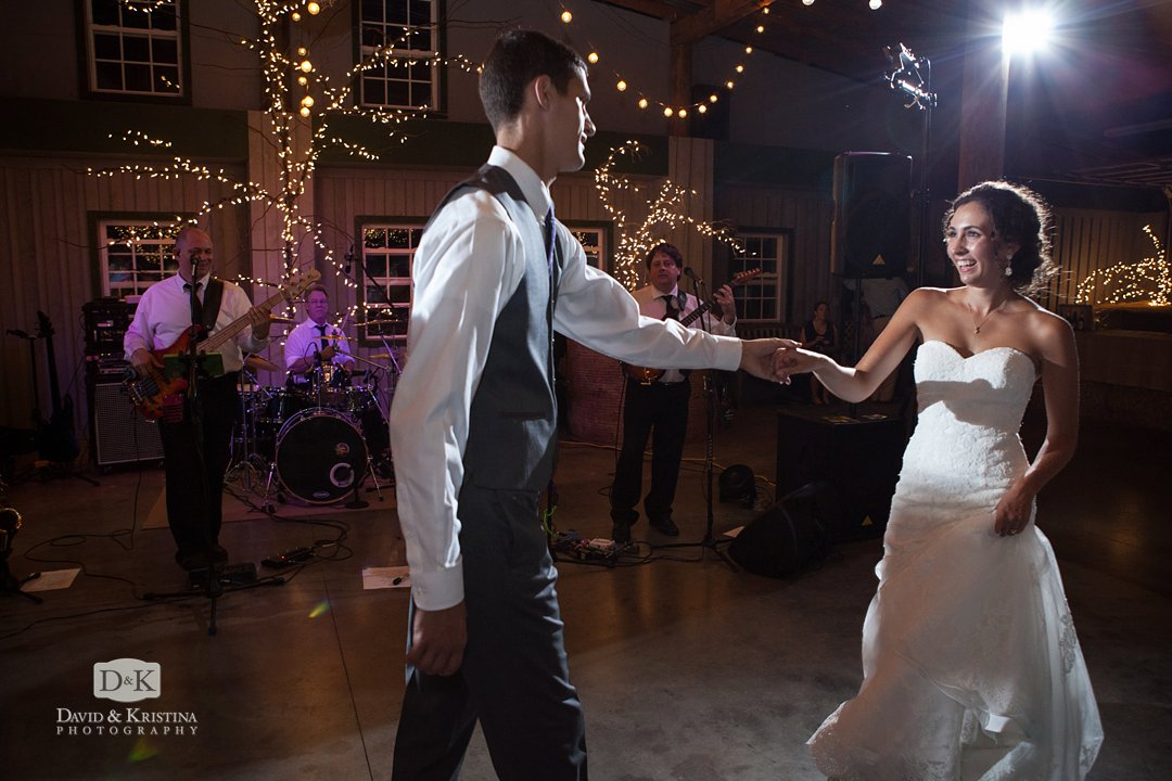 Craig and Aubrey dance during wedding reception at Greenbrier Farms