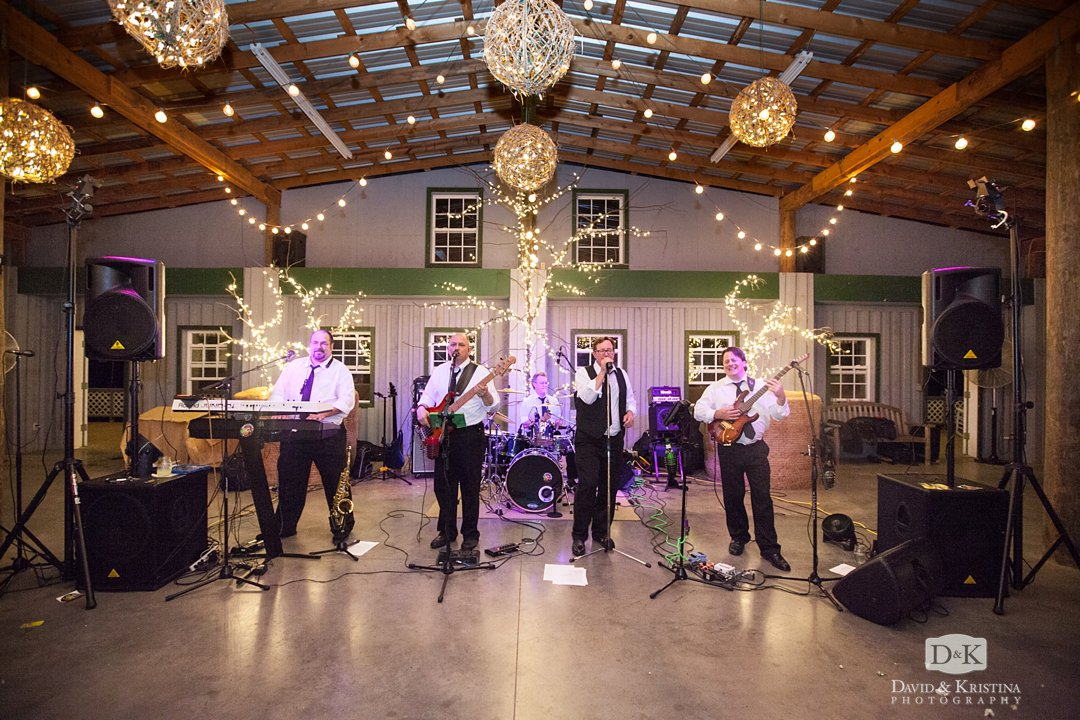 Hot As A Pepper band in barn at Greenbrier Farms wedding