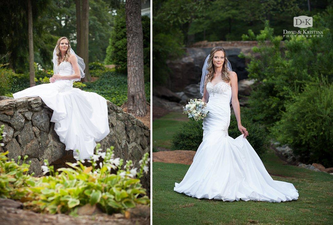 bridal portrait at Rock Quarry Garden Greenville SC