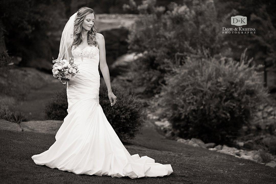black and white rock quarry garden bridal portrait