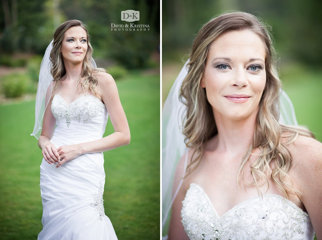 close up bridal portrait with soft lighting outdoors at Rock Quarry Greenville