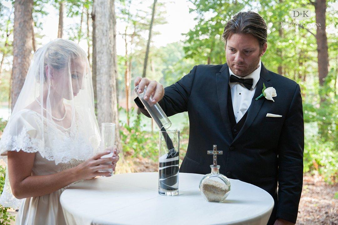 wedding sand ceremony alternating colors of sand