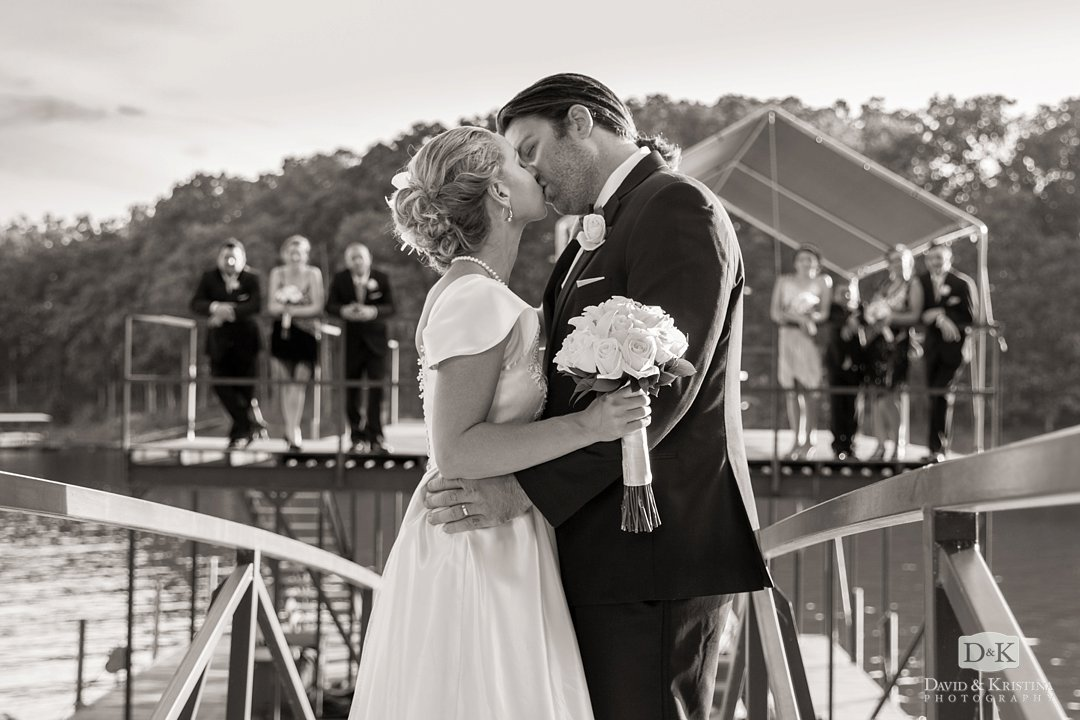 Bride and groom on Hartwell lake dock