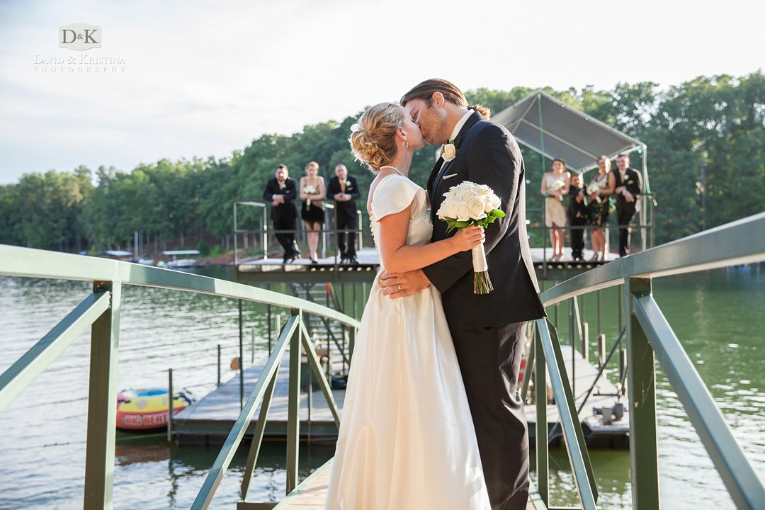 Bridal party on dock on lake Hartwell