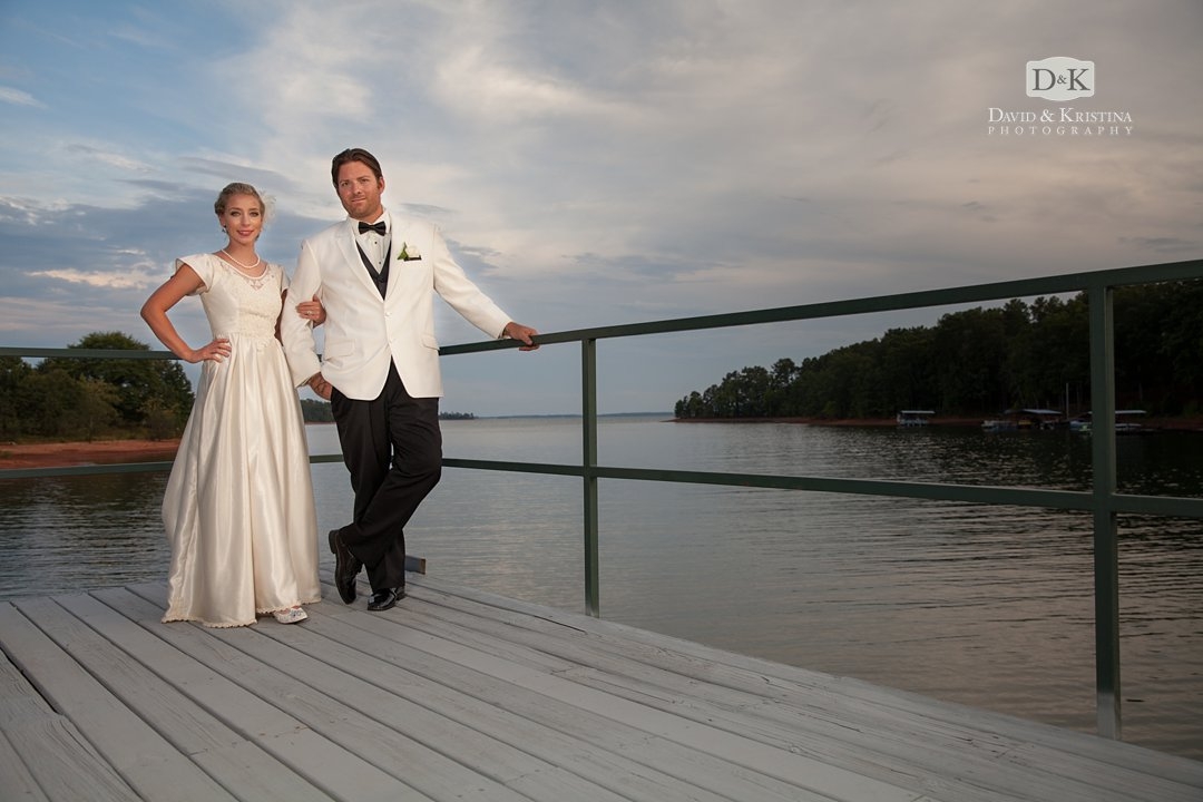 Bride and Groom in white tux at Hartwell Lake wedding