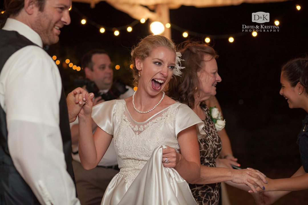 Bride and Groom dancing at wedding reception at Lake Hartwell