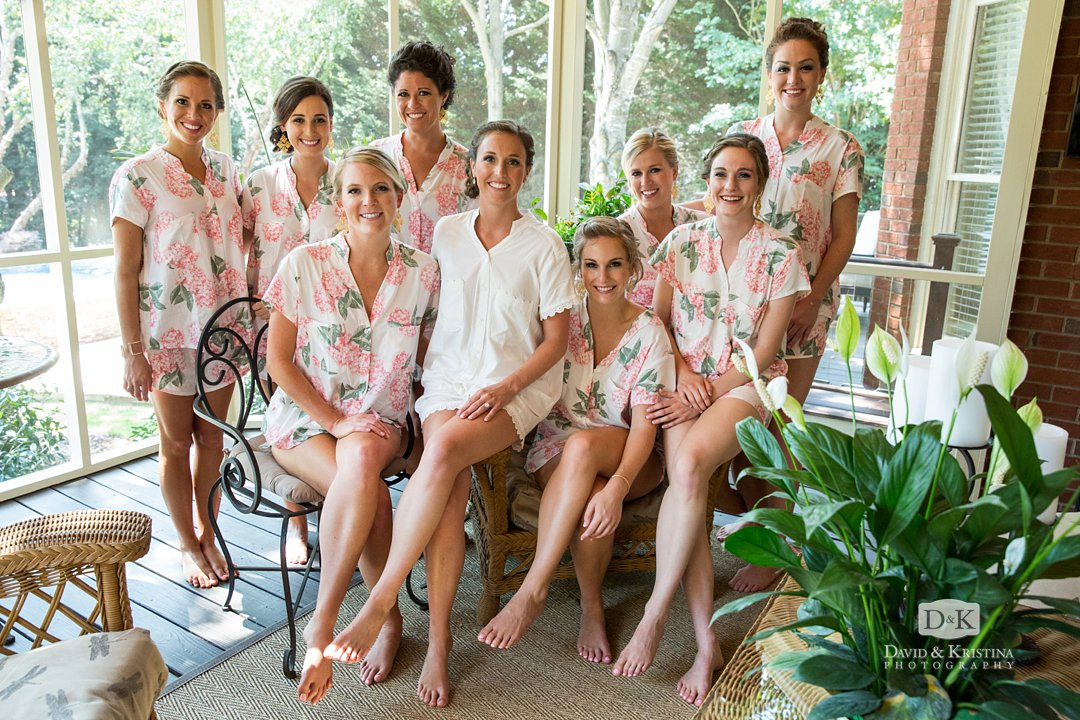 bridesmaids in pajamas