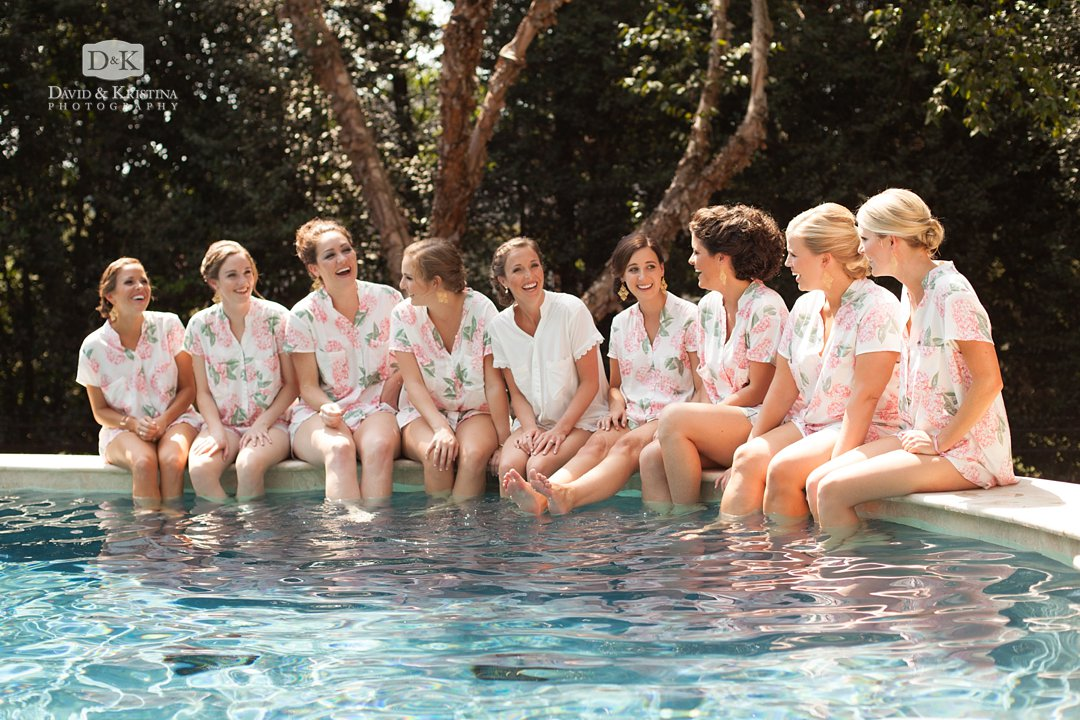 bridesmaids hanging out at pool in pjs