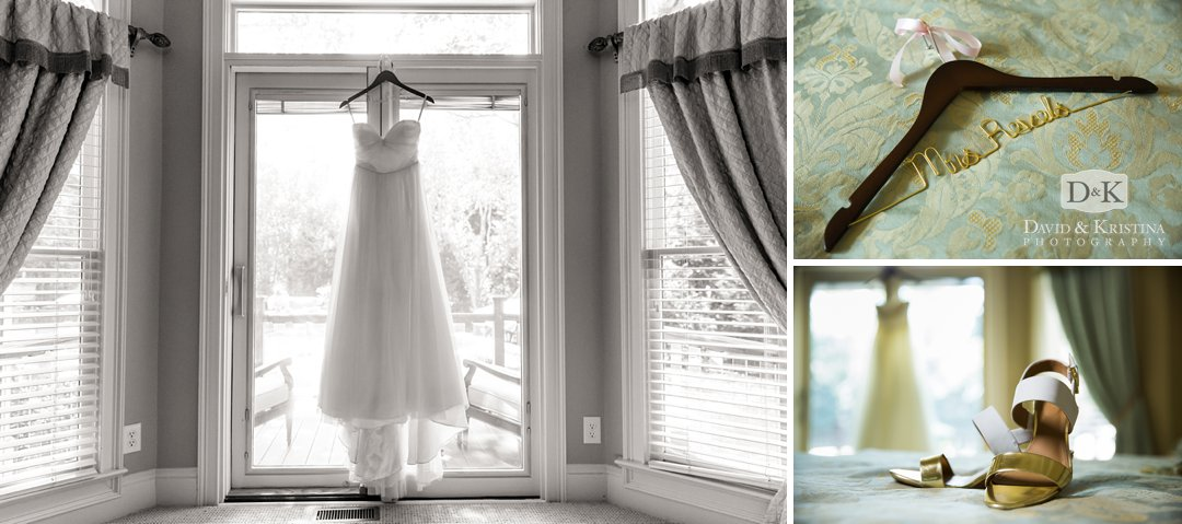 wedding dress on customized hanger