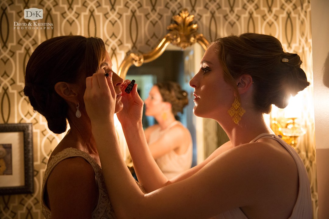 bride's mother getting makeup on